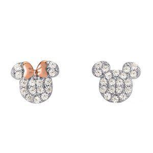 Mickey Minnie silver studs with diamond accents